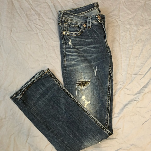 Silver Tuesday Bootcut net lace distressed jeans